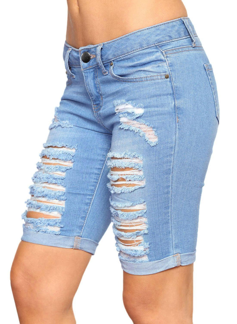Distressed Ripped Roll-up Cuffs Denim Shorts (LC786100-4-3)
