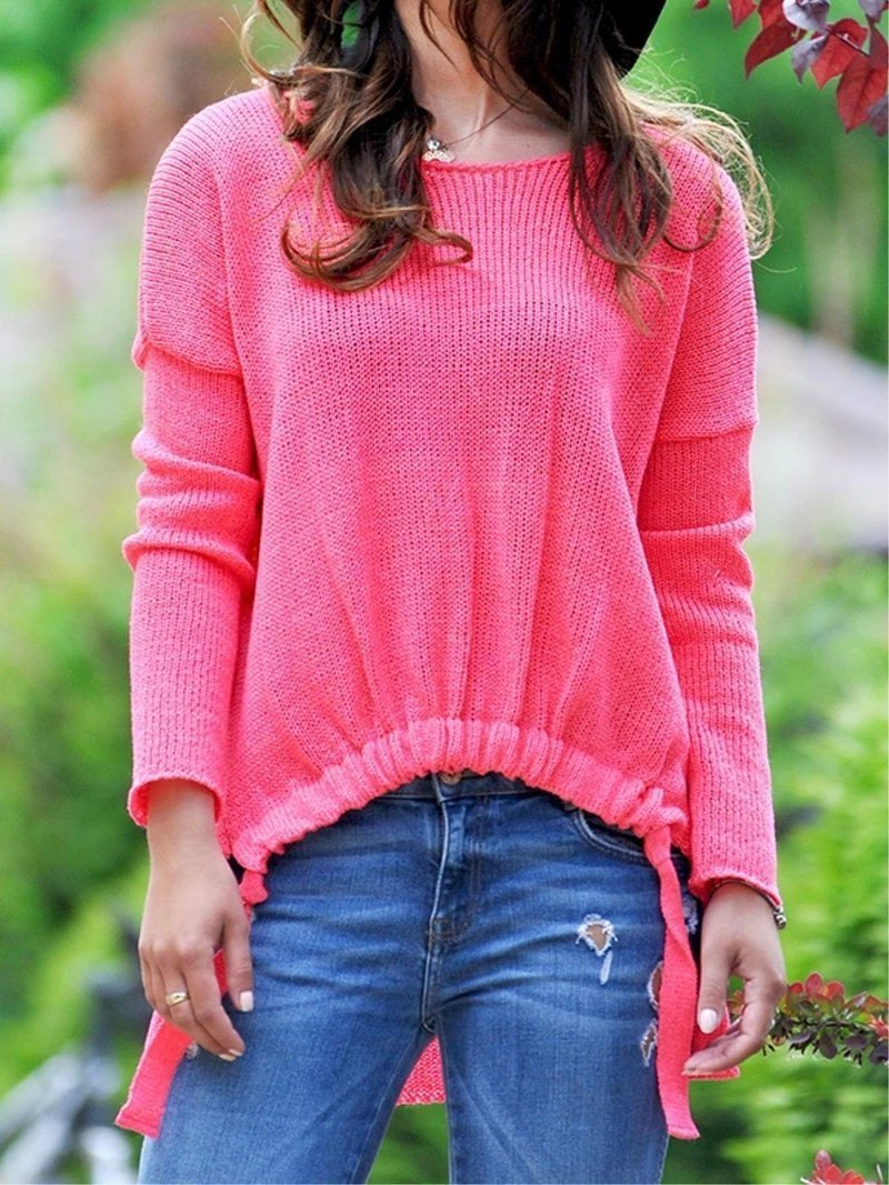 Casual Plain Knitted Crew Neck Long Sleeve Sweater