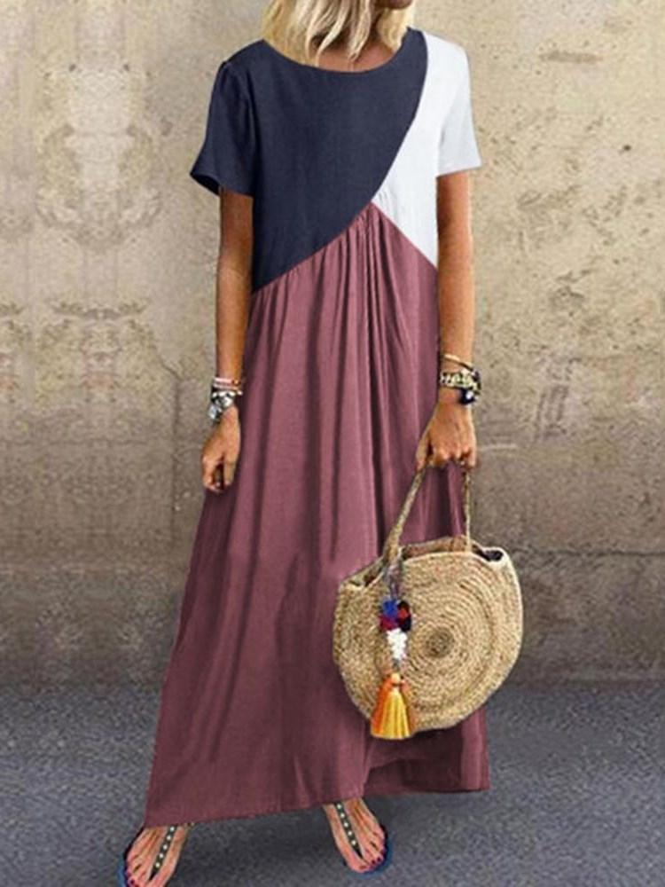Patchwork Short Sleeve Round Neck Color Block Pullover Dress