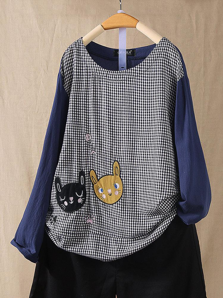 Cartoon Patch Plaid Stitching Long Sleeve Blouse