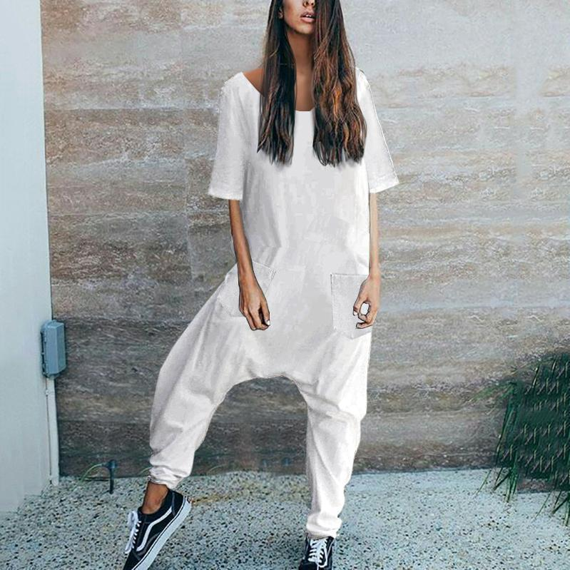 Casual Loose Short Sleeve Solid Color Jumpsuit