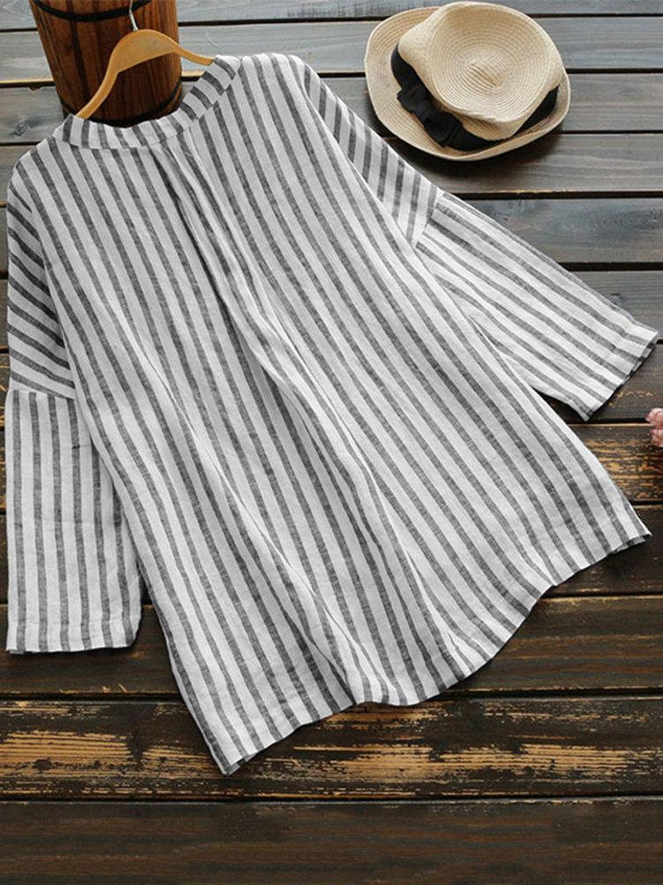 Loose Vertical Striped V neck High Low Button Shirt
