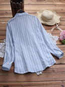 Side Buttons Stripe Long Sleeve Lapel Casual Shirt