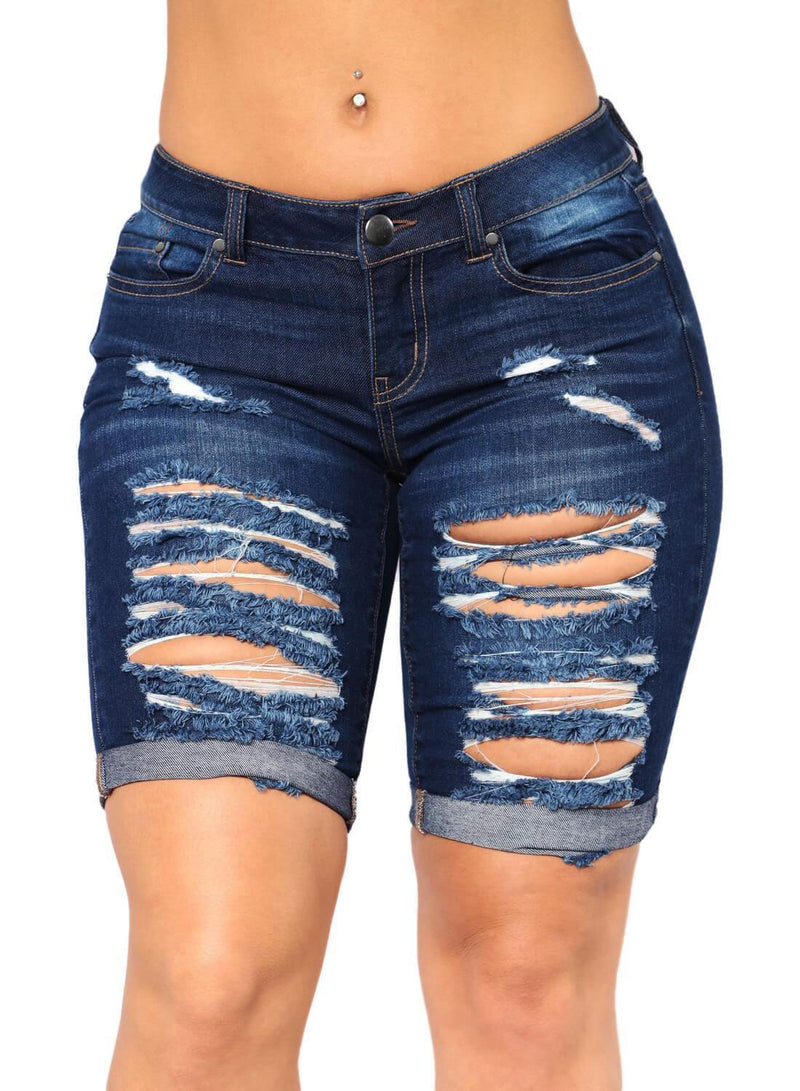Distressed Ripped Roll-up Cuffs Denim Shorts (LC786100-5-1)