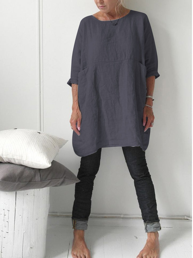 Linen 3/4 Sleeve Casual Blouse
