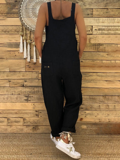Square neck Spaghetti Solid Pockets Jumpsuits Rompers