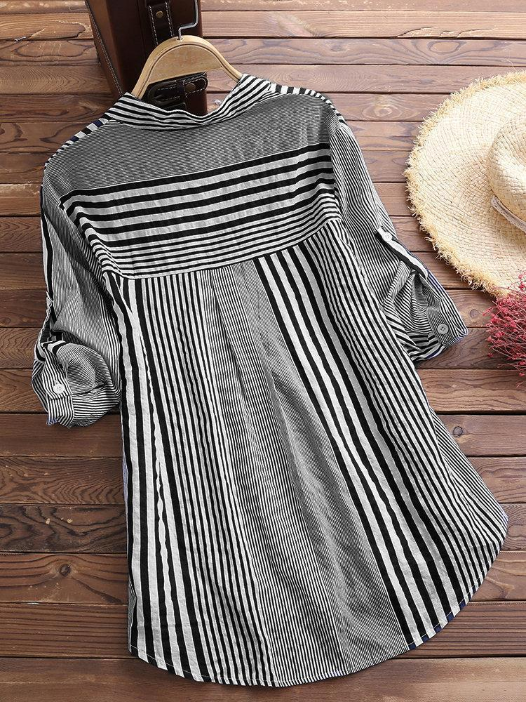 Patchwork Stripe Print Stand Collar Irregular Casual Long Sleeve Shirt