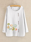Flower Print Long Sleeve Button Casual Blouse For Women