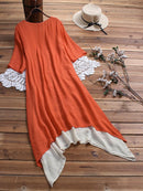 Vintage Lace Patchwork Button Half Sleeve Long Dress