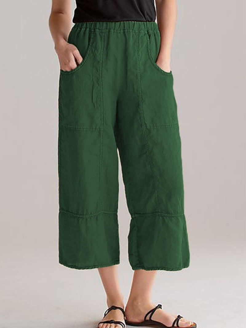 Pockets Solid Casual Plus Size Pants