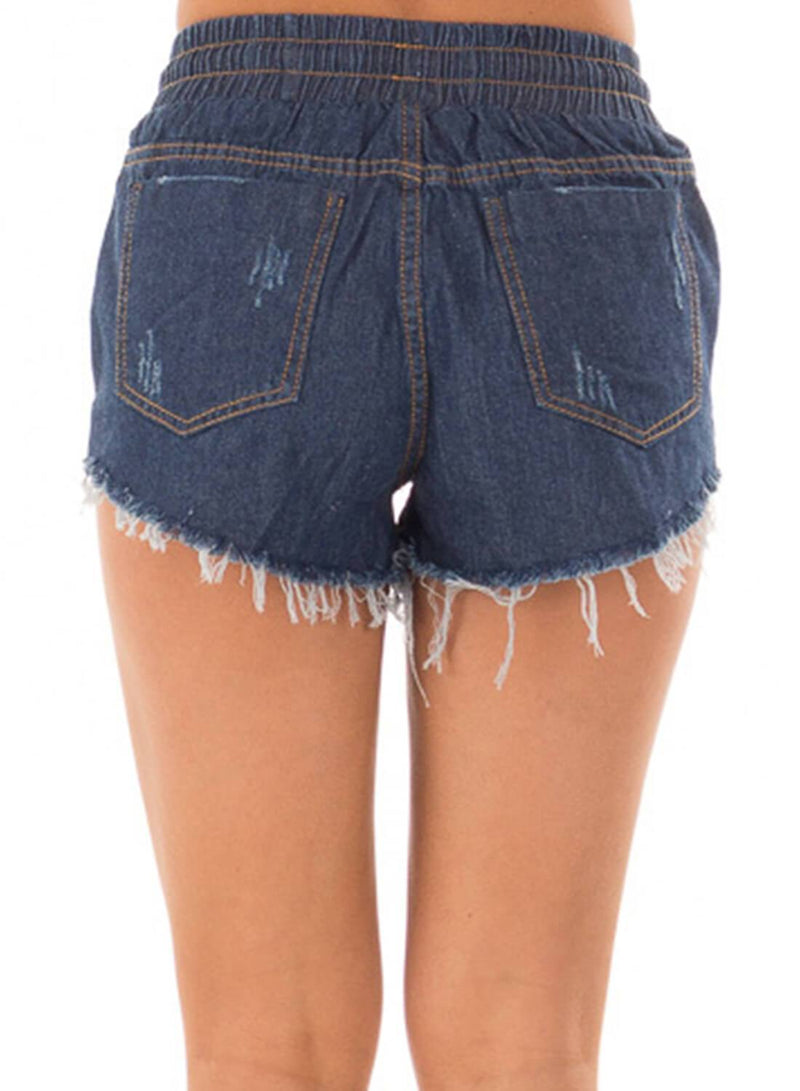 Drawstring Distressed Ripped Denim Shorts (LC786093-5-3)