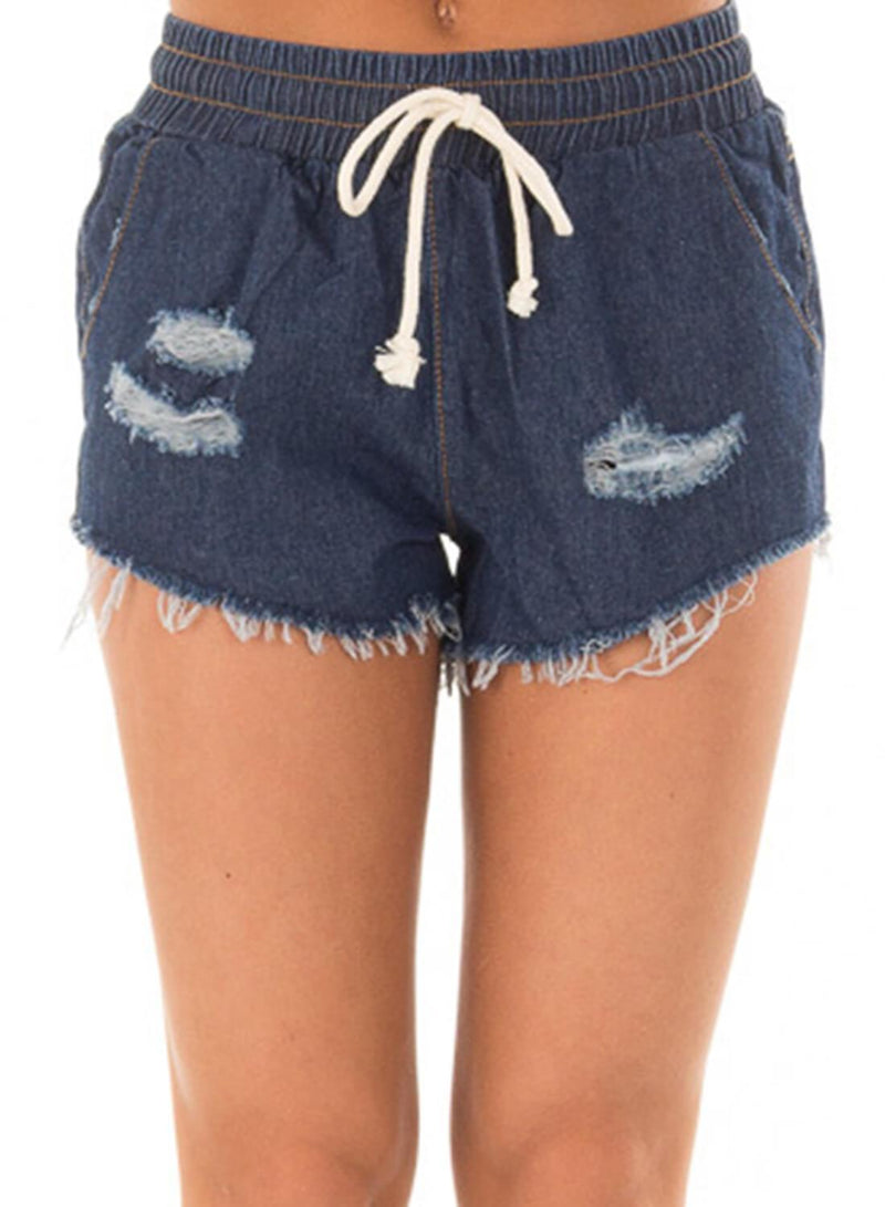 Drawstring Distressed Ripped Denim Shorts (LC786093-5-1)