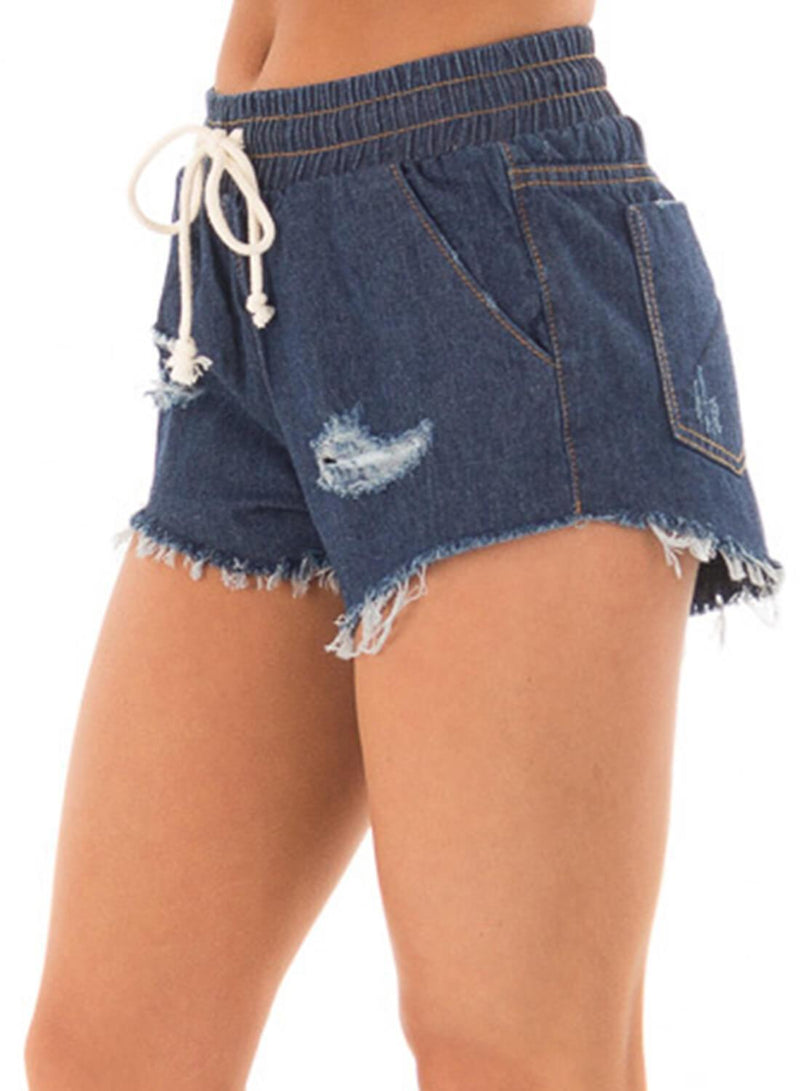 Drawstring Distressed Ripped Denim Shorts (LC786093-5-2)