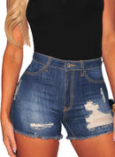 Distressed Ripped High Waisted Denim Shorts (LC786129-5-2)