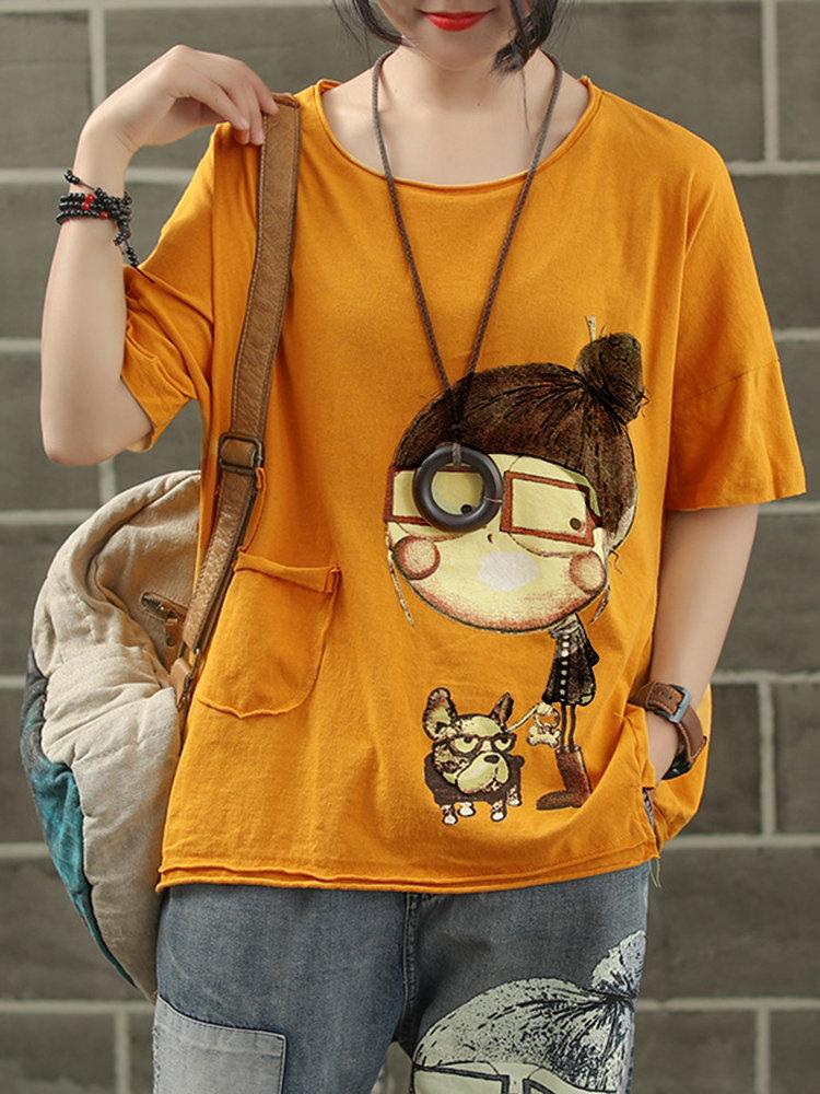 Vintage Print Cartoon Short Sleeve Pocket Crew Neck T-Shirt