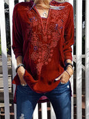 Patchwork Casual Shirts & Tops-Top-Wotoba-Deep Red-S-Wotoba