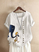 Short Sleeve Casual Cartoon Print T-shirt For Women