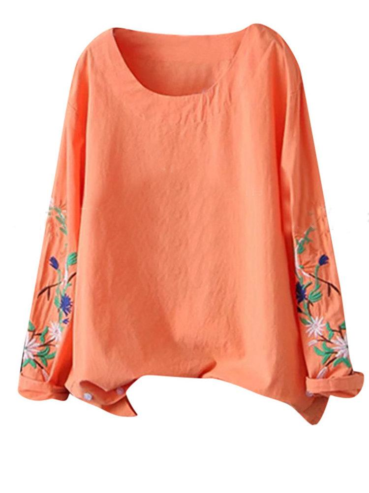 Flower Embroidery O-neck Long Sleeve Solid Color Blouse