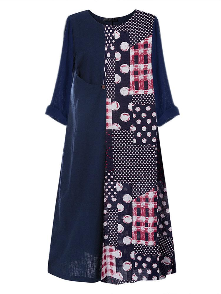 Polka Dot Print Patchwork Plus Size Dress