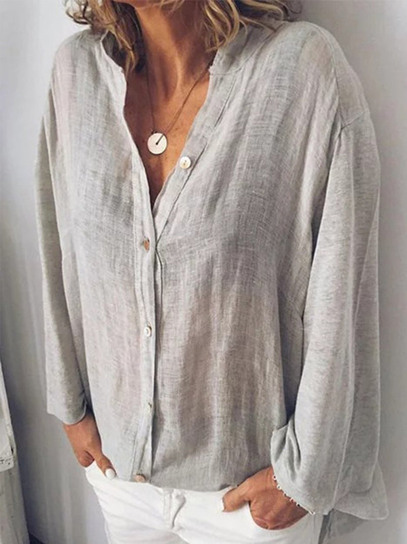 Cotton-Blend Sweet Long Sleeve V Neck Blouse