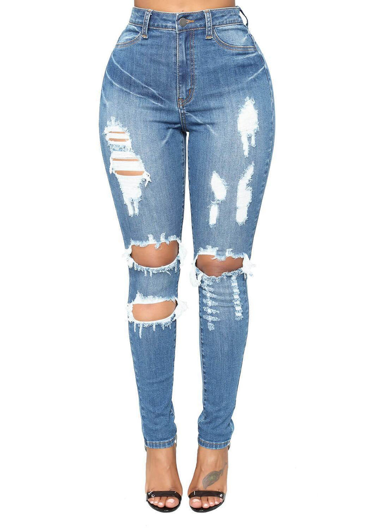 Denim Distressed Skinny Jeans (LC786051-4-1)