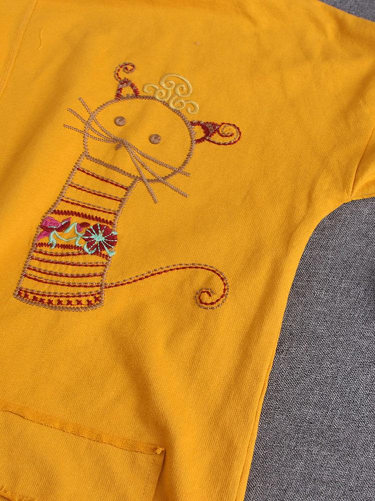 Cartoon Cat Embroidery Long Sleeve Casual Shirt