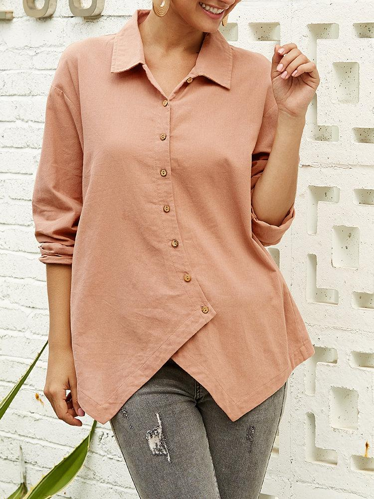 Irregular Long Sleeve Solid Color Button Blouse