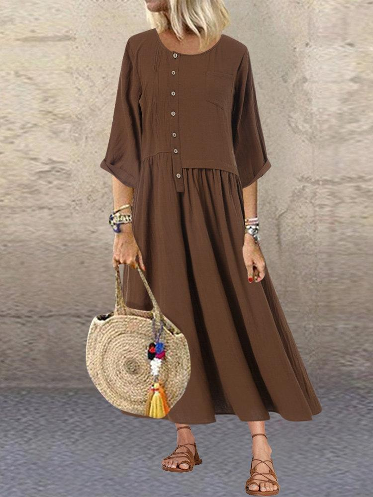 Button Patchwork Solid Color 3/4 Sleeve Dress