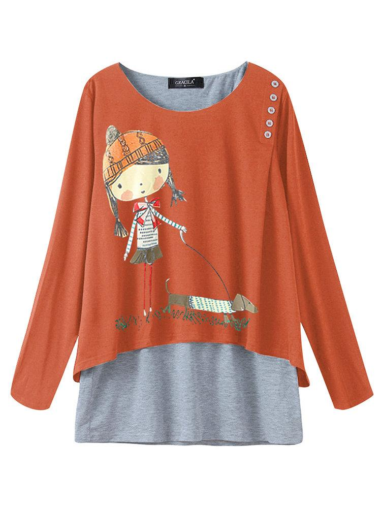 Cartoon Print Long Sleeve Crew Neck Blouse