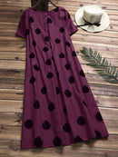 Casual Polka Dot Short Sleeve Cotton Dresses