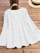 Chic V Neck Crochet Lace Long Sleeve Shirt