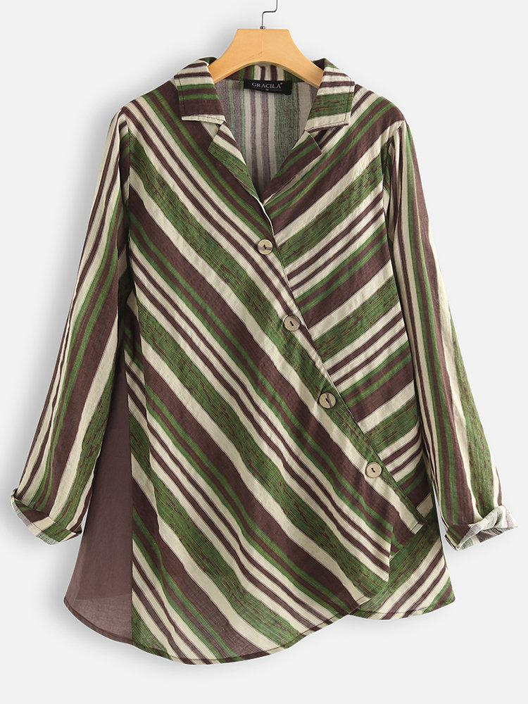 Cross Wrap Multicolor Striped Patchwork Long Sleeve Blouse