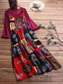 Two Picecs Ethnic Print Vintage Maxi Dress For Women