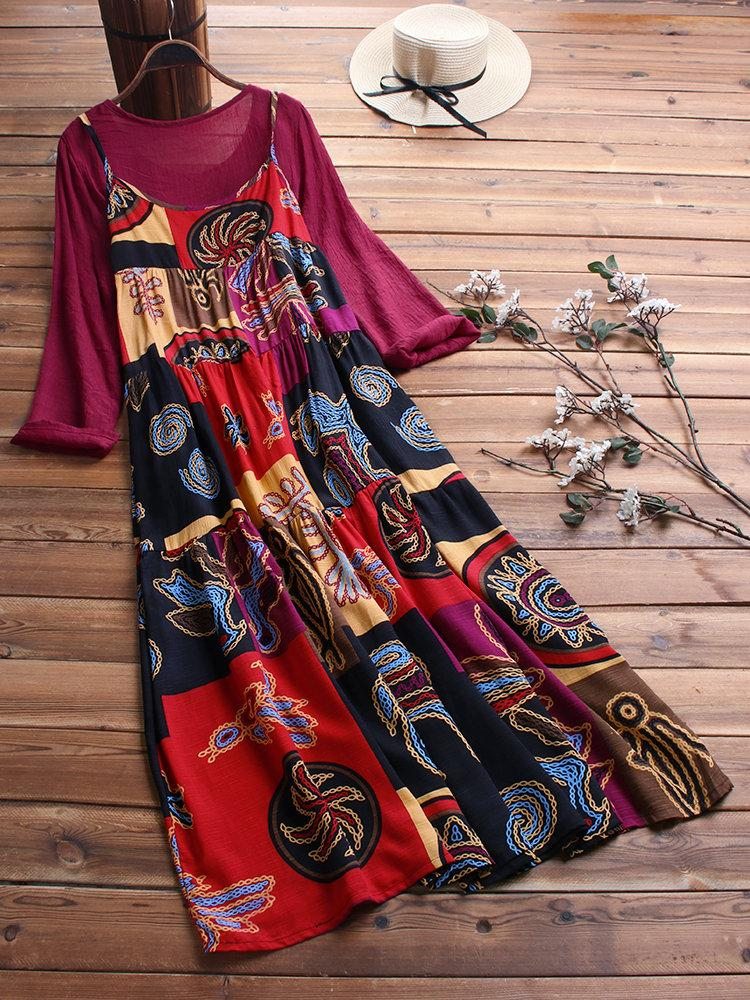 Two Pieces Ethnic Print Vintage Maxi Dress