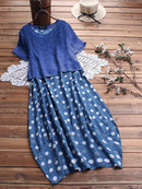 Polka Dot Two Pieces Short Sleeve Loose Plus Size Maxi Dress