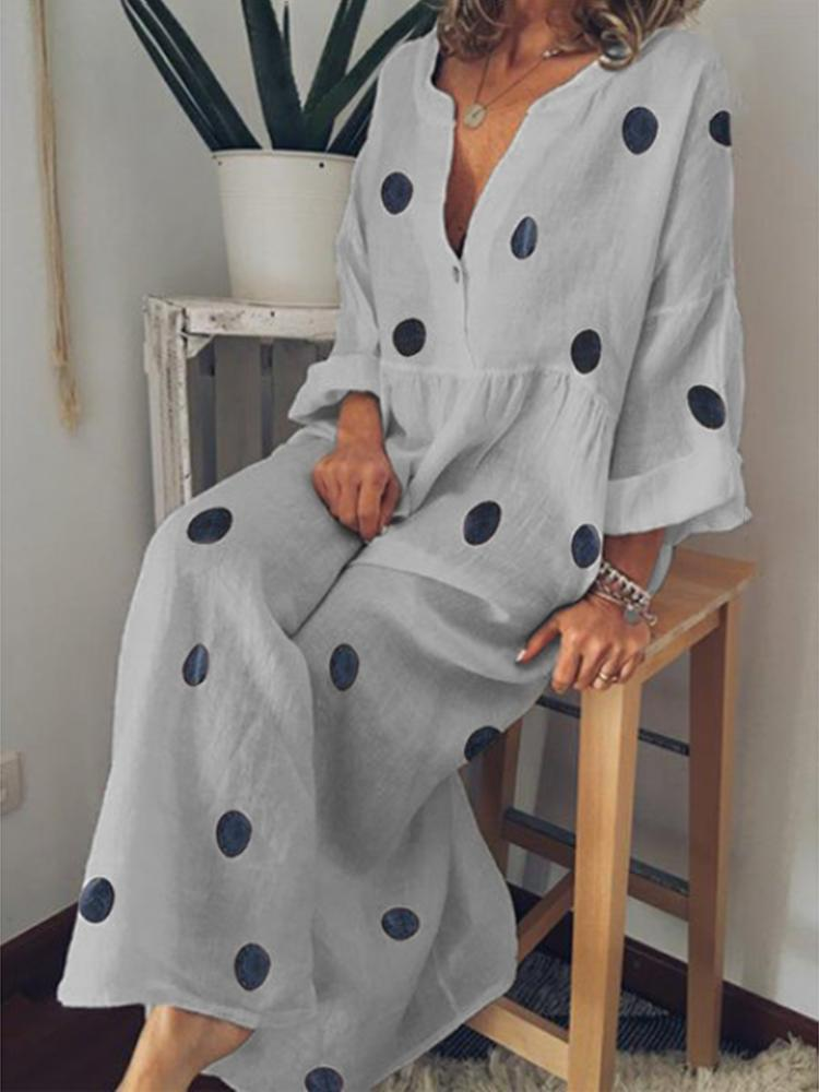 Polka Dot Loose Long Sleeve Maxi Dress