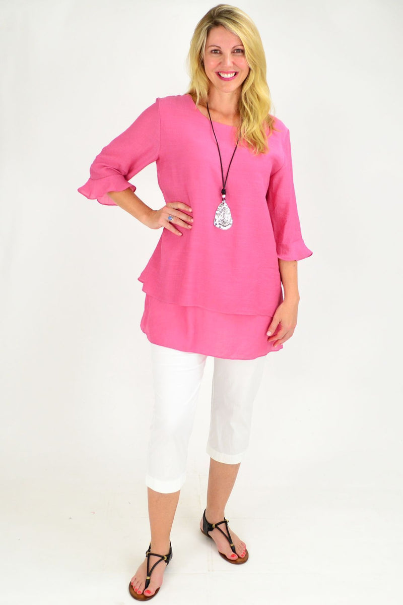 Peppers Pink Cross over Tunic Blouse