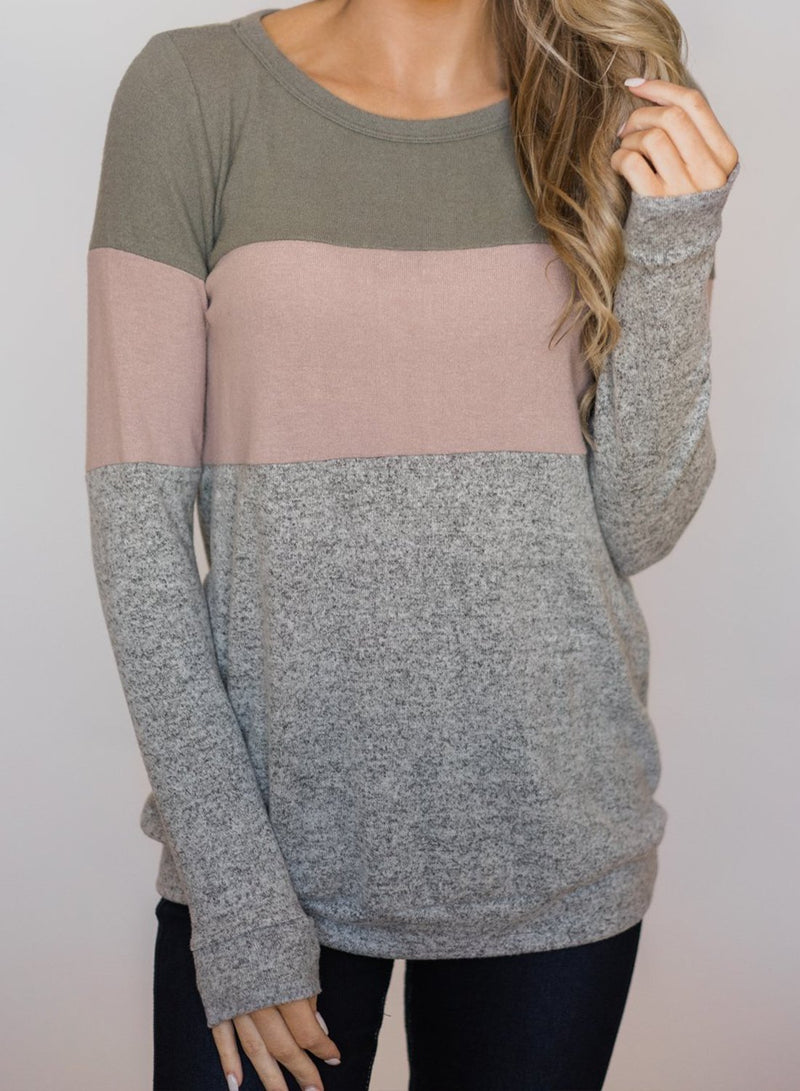Long Sleeve Color Block Cute Shirt Round Neck Casual Tops