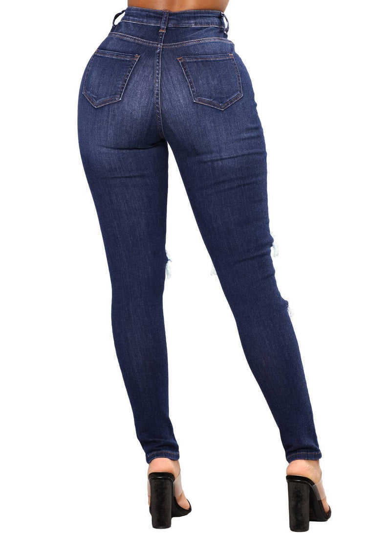 Denim Distressed Skinny Jeans (LC786051-5-3)