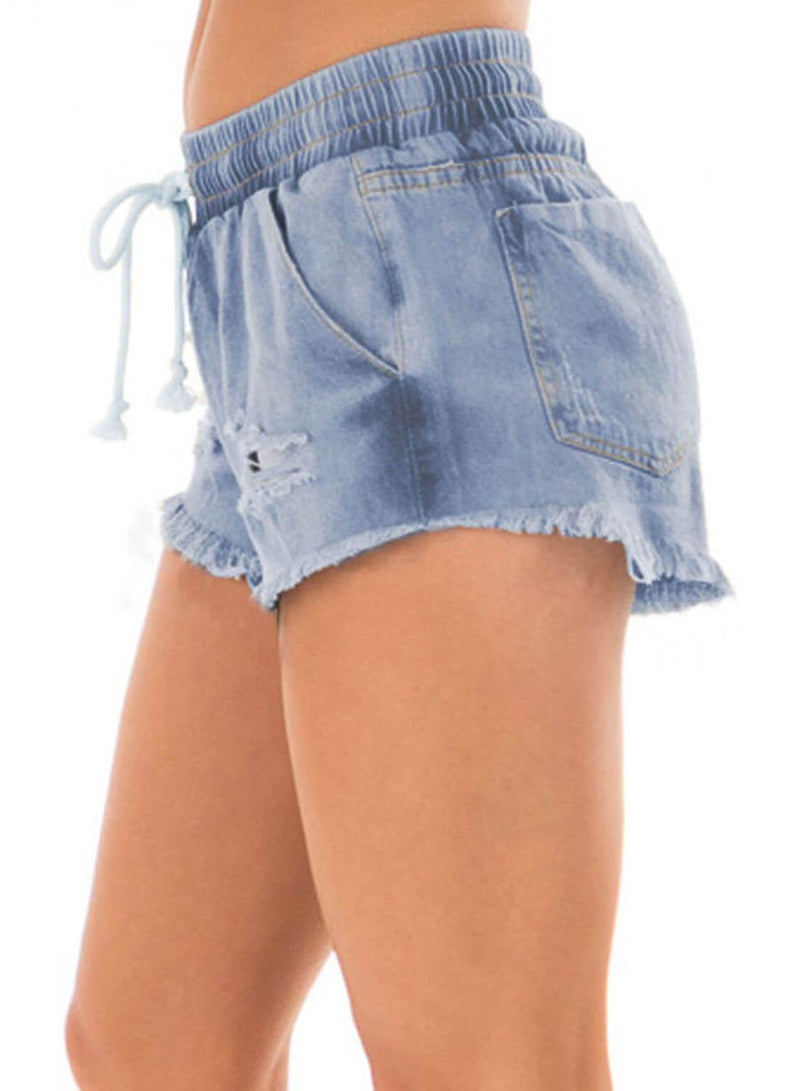 Drawstring Distressed Ripped Denim Shorts (LC786093-4-3)