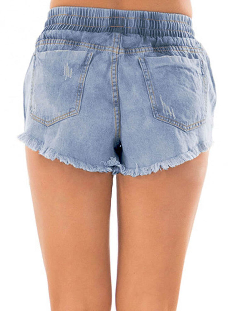 Drawstring Distressed Ripped Denim Shorts (LC786093-4-2)