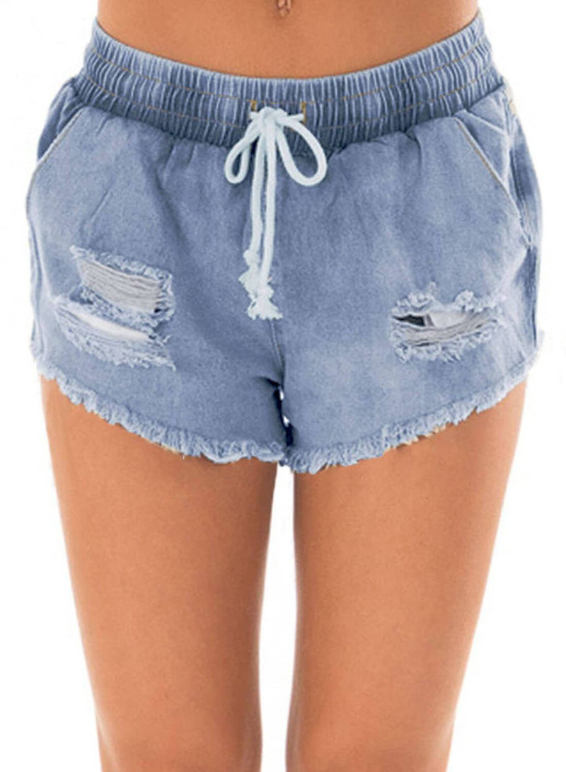 Drawstring Distressed Ripped Denim Shorts (LC786093-4-1)