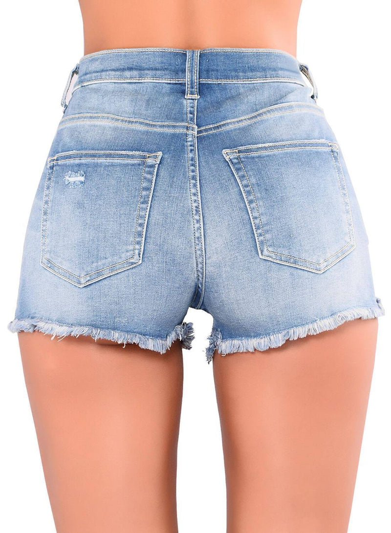 Floral Embroidery High Waisted Denim Shorts (LC786103-4-2)