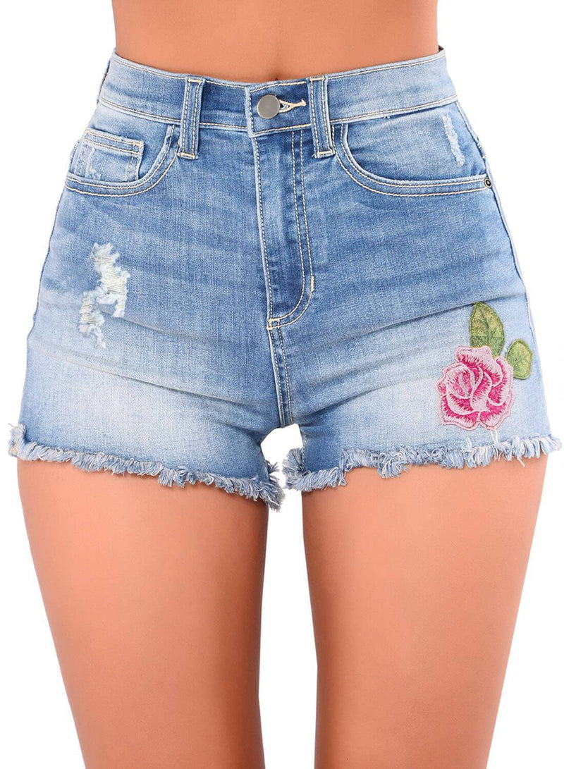 Floral Embroidery High Waisted Denim Shorts (LC786103-4-1)