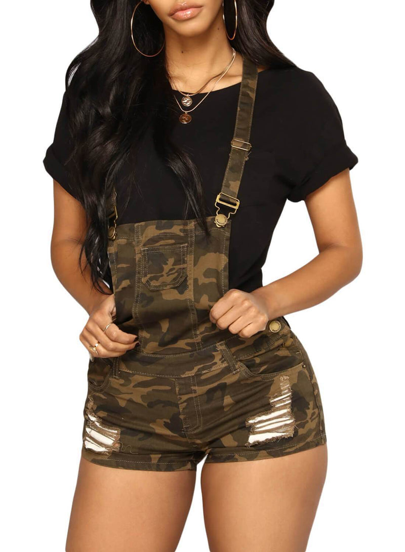 Ripped Camo Short Overall Jeans (LC786106-22-1)