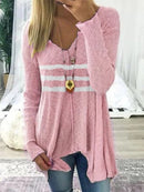 Striped Casual V-neck Long Sleeve Shirt
