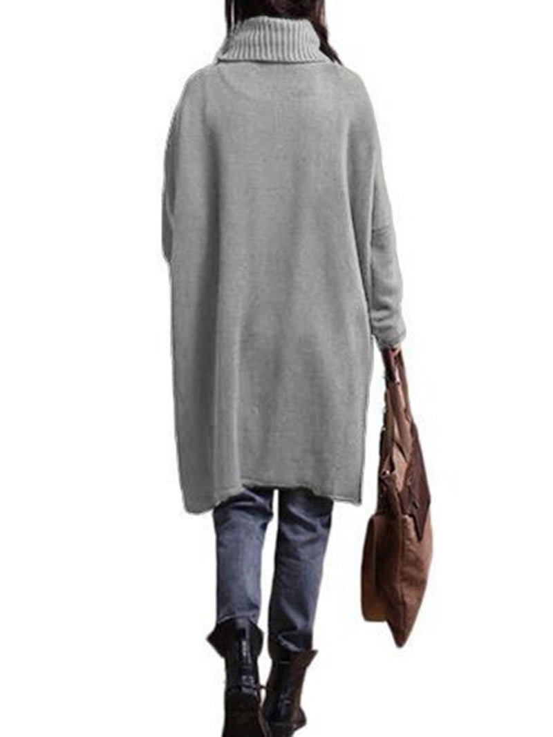 Turtleneck Asymmetrical Knitted Casual Sweater