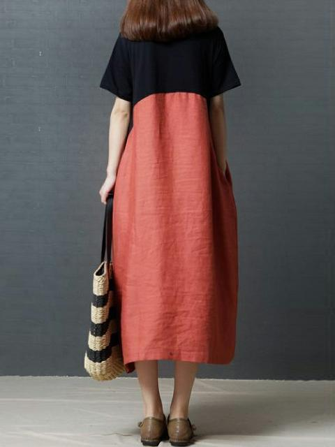 Women's Color Block Cotton Linen Dress