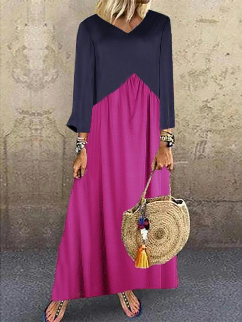 Women's Casual Splicing Loose Maxi Dress