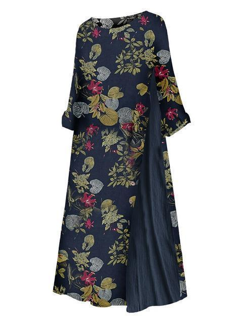 Floral Print Patchwork Plus Size Dress